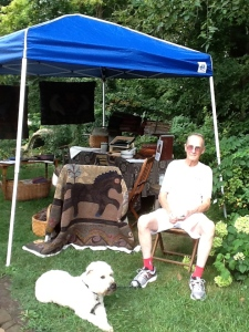 My husband Barry and Murphy, our Wheaten Terrier in Bishop Hill.
