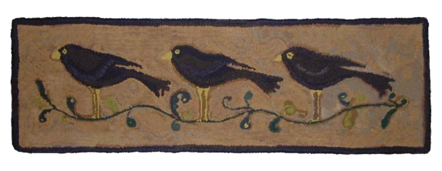 3 BLACK BIRDS IN A ROW 12H X 37W  Linen $57.00