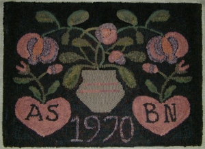 """ANNIVERSARY RUG  Small 15"""" x 19"""" W  Linen $48 Large 24""""H x 28""""W, $69.00"""