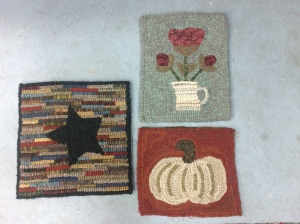 Beginner projects to learn how to hook - Hit and Miss Star, Spring Flowers or Fall Pumpkin.