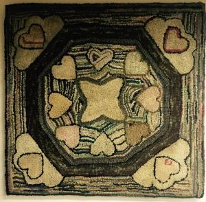 "1895 Heritage Hearts, 38"" x 39"" drawn on primitive linen, $95"