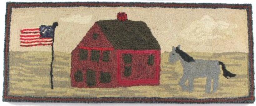 """Homestead, pattern on linen,  36""""long by 15""""wide"""